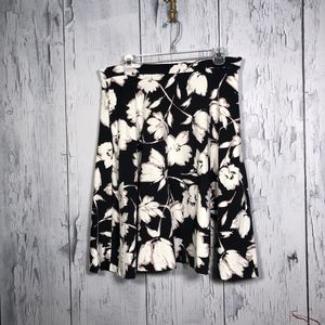Adrienne Vittadini Black&White Floral Flare Skirt